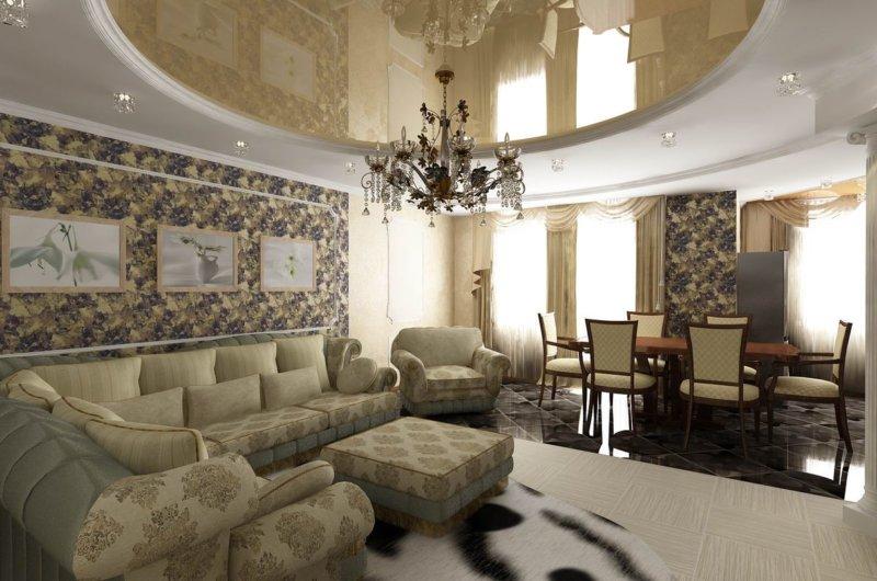 интерьер зала со шторами