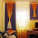 Комбинированные оригинальные шторы в гостиную