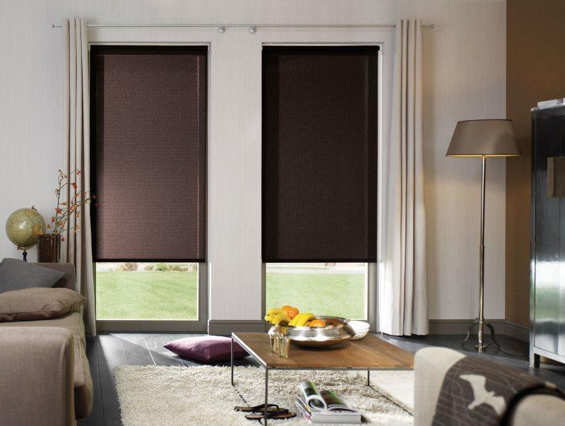 Солнцезащитные рулонные шторы коричневого цвета