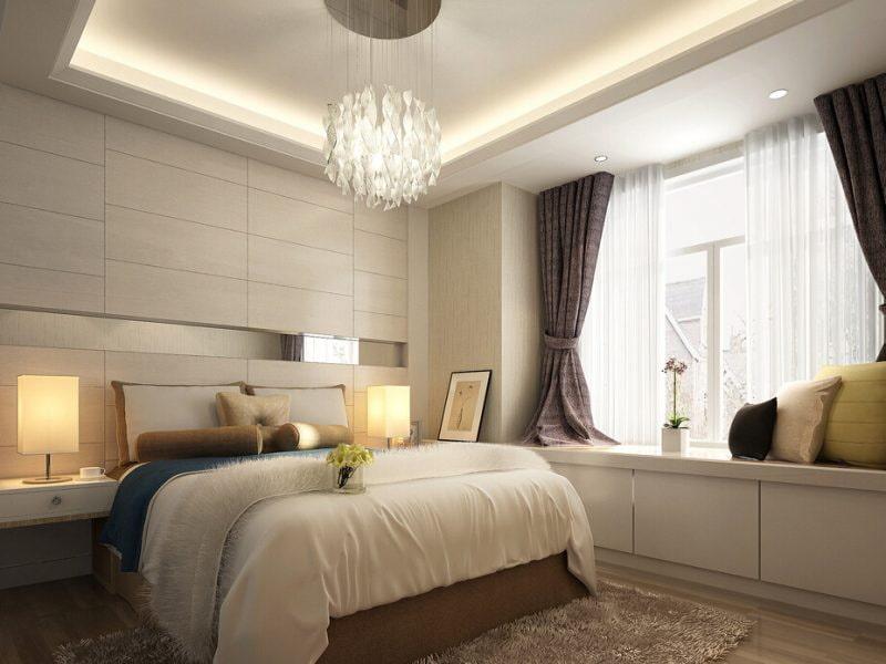 короткие шторы в спальне дизайн