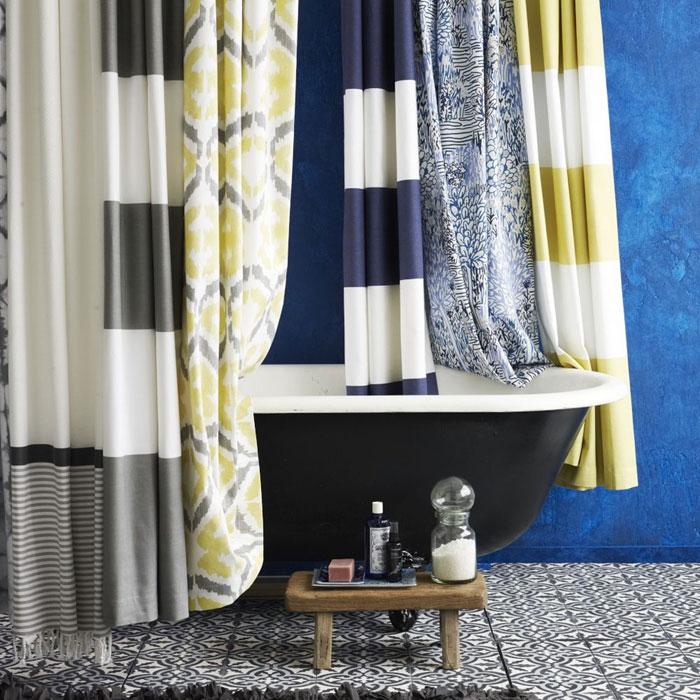 Разнообразие шторок для ванной из смесовой ткани