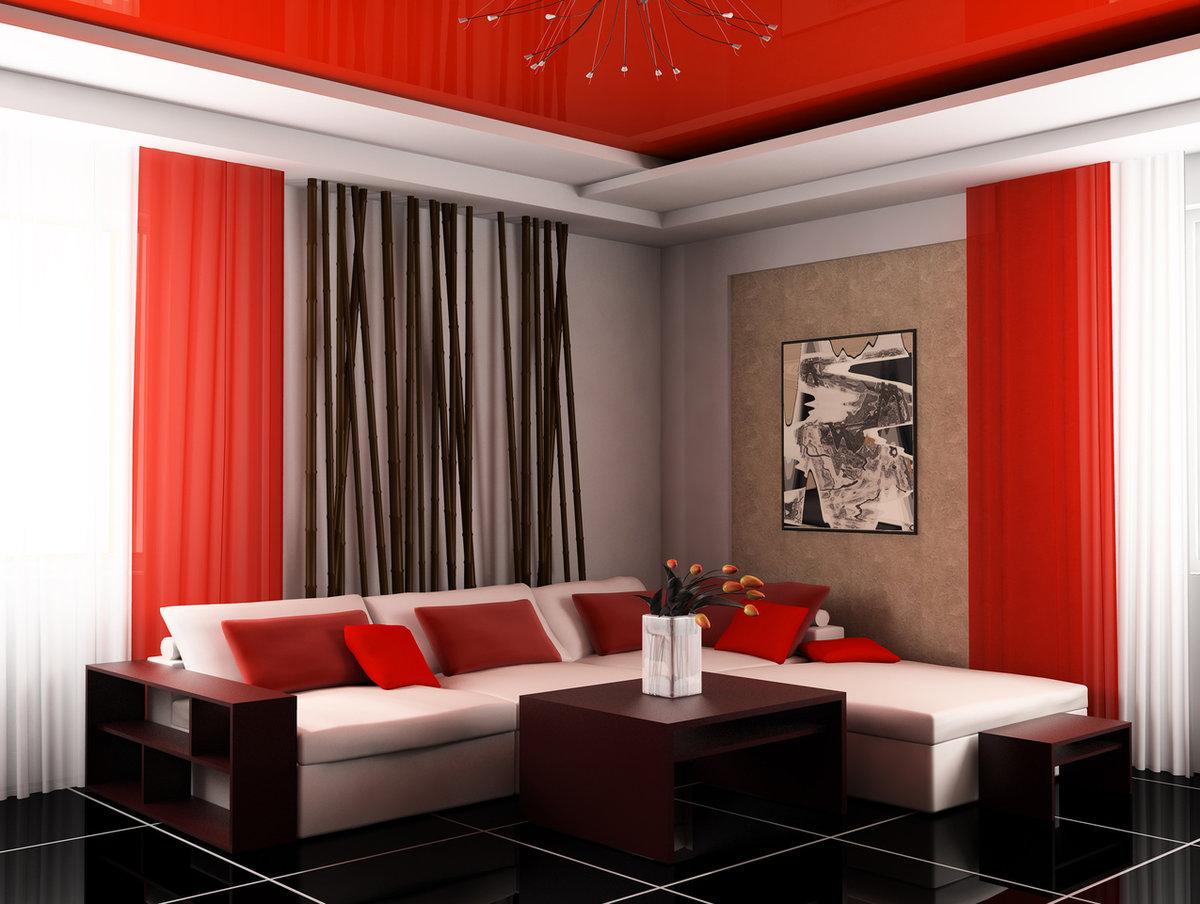 красно белая гостиная