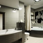 Крепление тканевой шторы в ванной на дугообразном карнизе