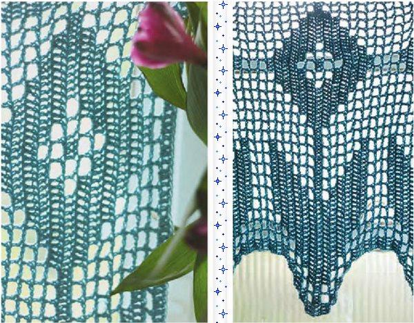 Лиловая штора ручной вязки для кухонного окна