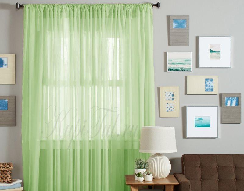 Нежно-зеленая занавеска из микровуали