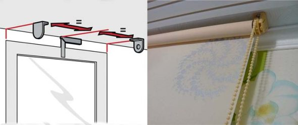 Монтаж рулонных штор на потолке