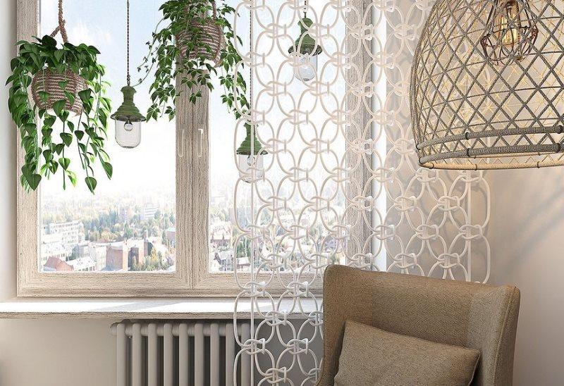 Композиция в стиле макраме в интерьере гостиной