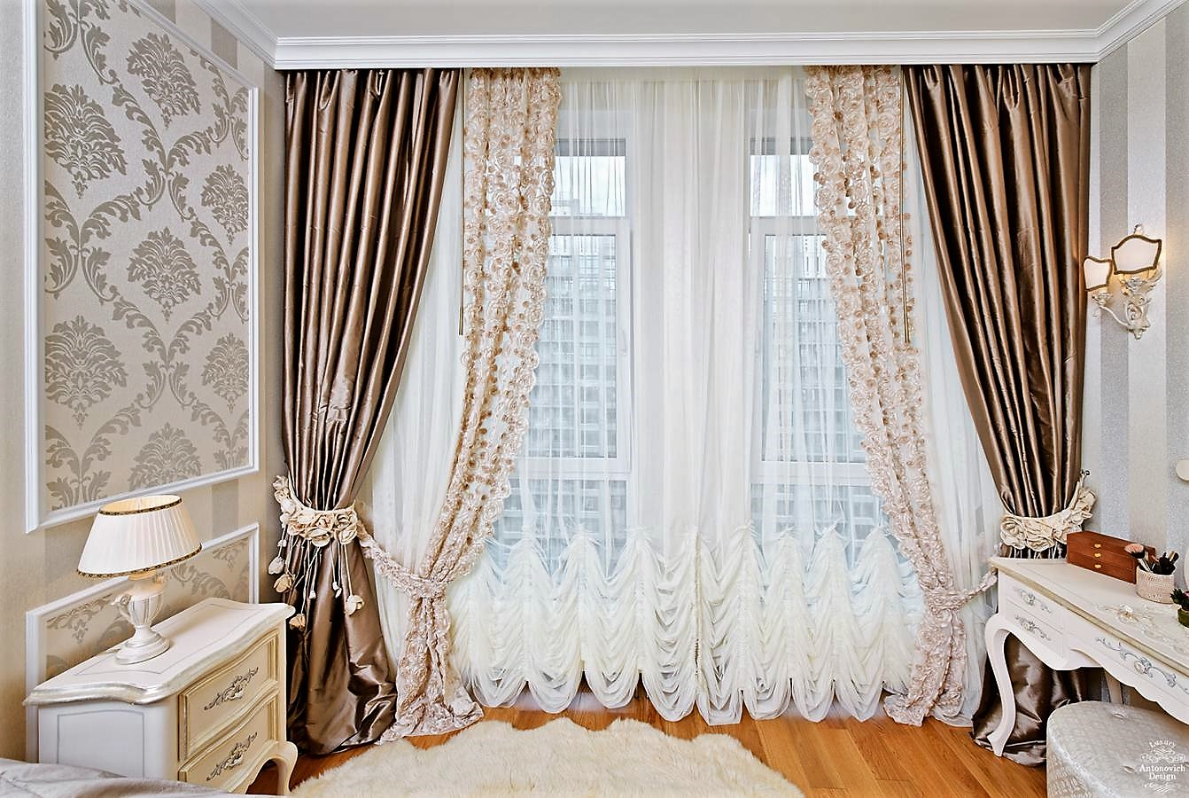 плотные шторы интерьер фото