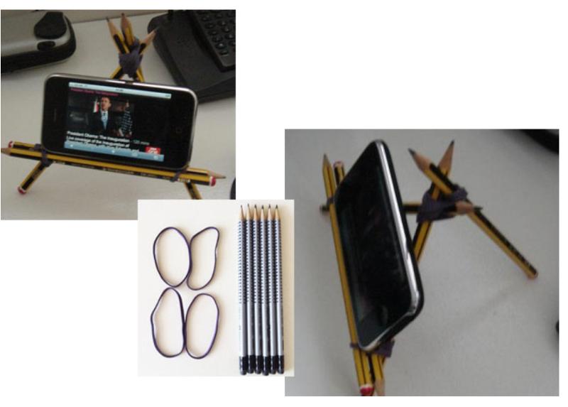 подставка для телефона из карандашей