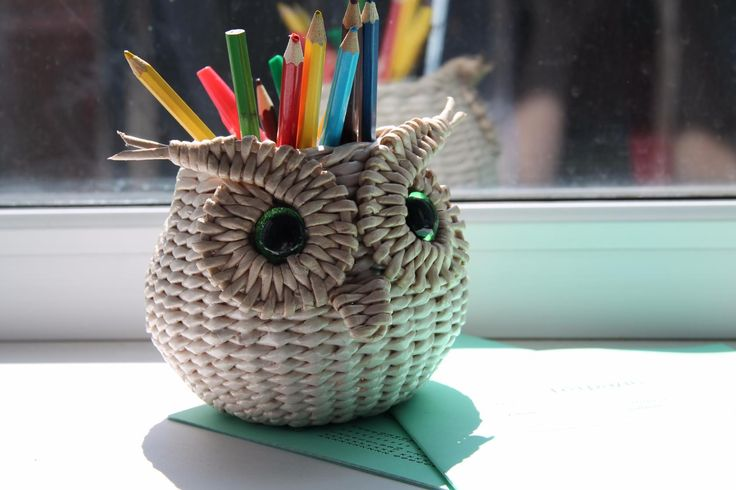 подставка для карандашей сова