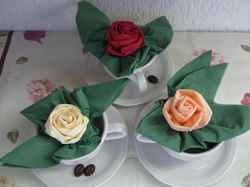 салфетки в виде роз