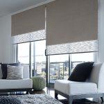 Серые двухсторонние рулонные шторы для частного дома