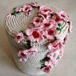 шкатулка вязаная крючком яблоня в цвету
