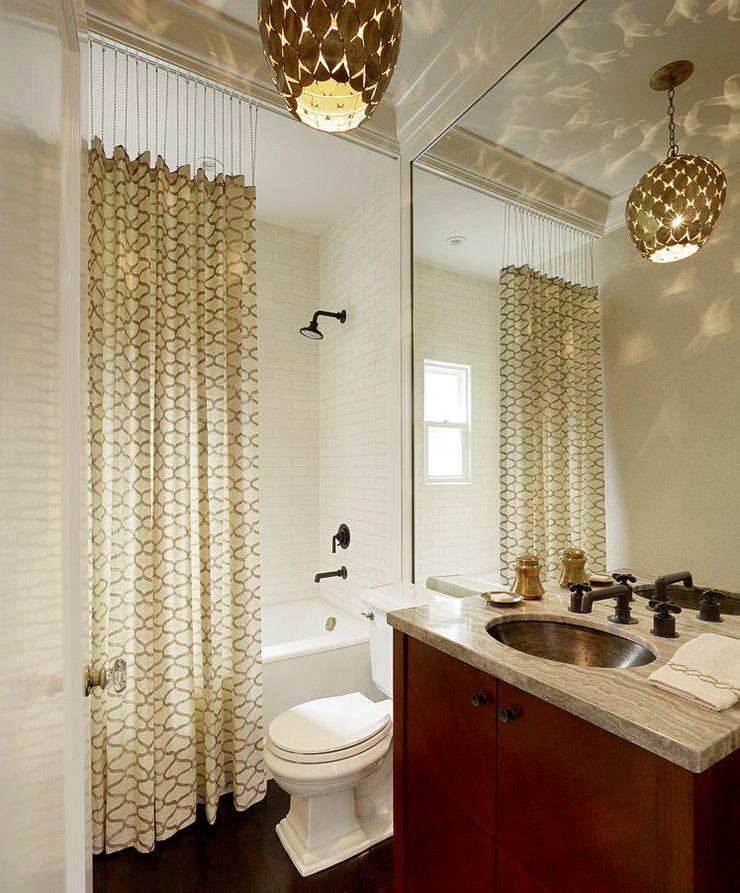 Интерьер ванной со шторкой в стиле модерн
