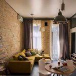 Красивые шторы для гостиной индустриального стиля