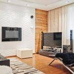 Белый кирпич в дизайне гостиной