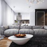 Серый диван прямой конфигурации