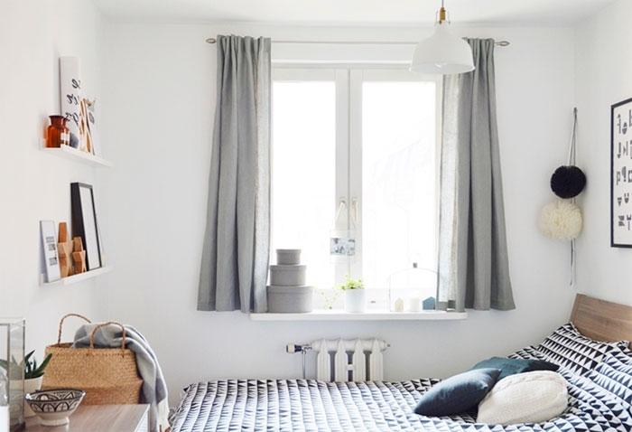 короткие шторы до подоконника в спальню фото дизайна