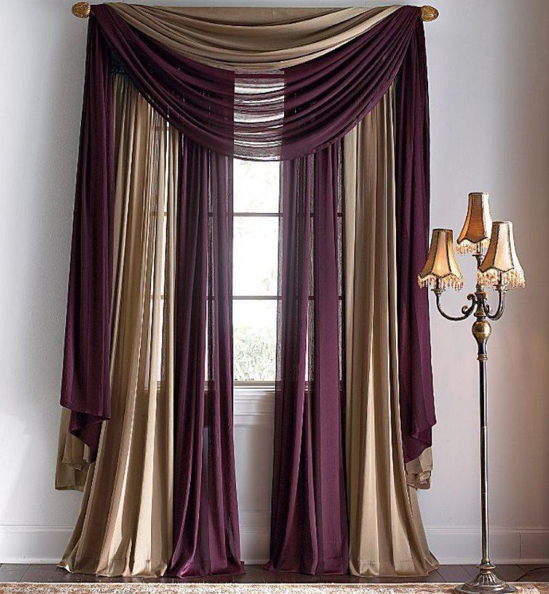 Оригинальное сочетание двойных штор из натуральной ткани