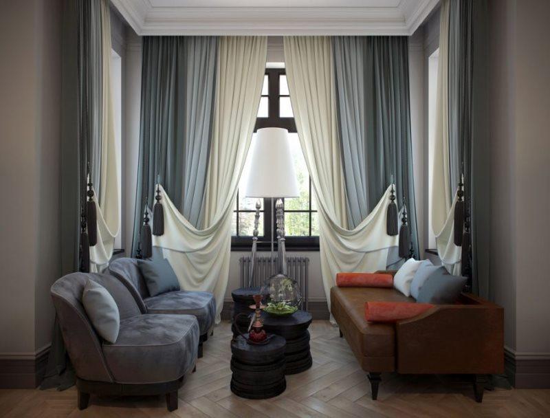 Сочетание двойных штор с цветом стен и потолка