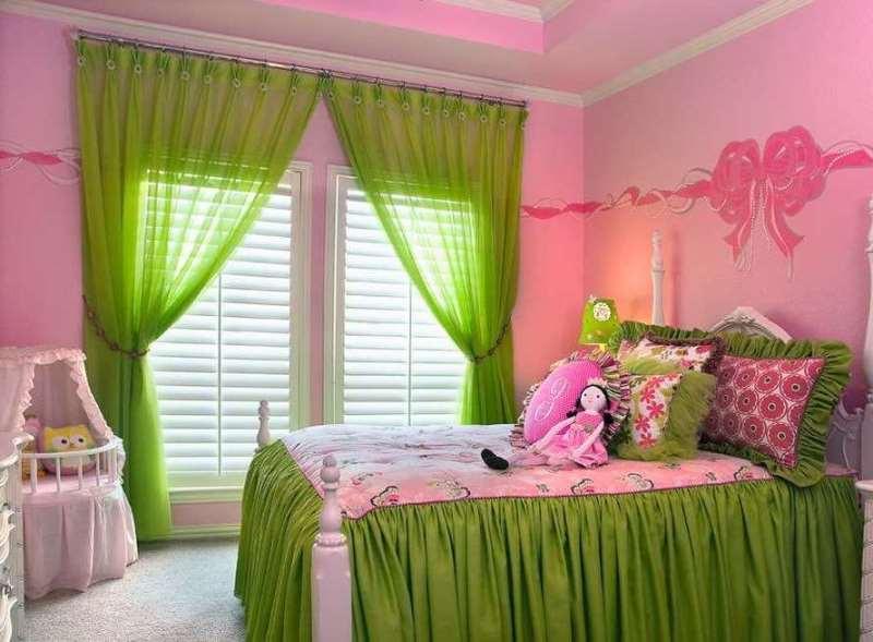 шторы из вуали в спальне девочки
