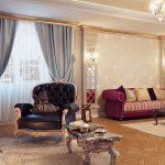 шторы в гостиной классика