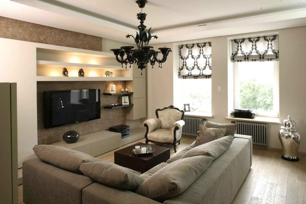 современные шторы в гостиную интерьер идеи