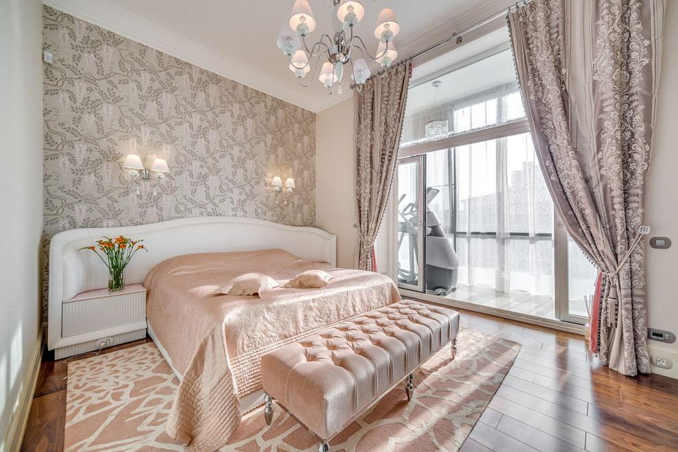 спальня современная классика шторы