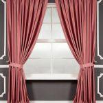 Темно-розовые удлиненные шторы