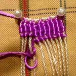 Закрепление английскими булавками заготовки плетенной шторы