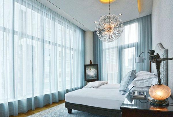 шторы из вуали в спальне