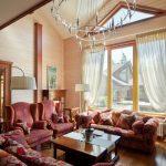 Тюль в интерьере зала в частном доме