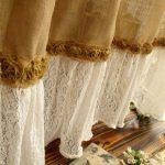 шторы из рогожки с краем из тюля