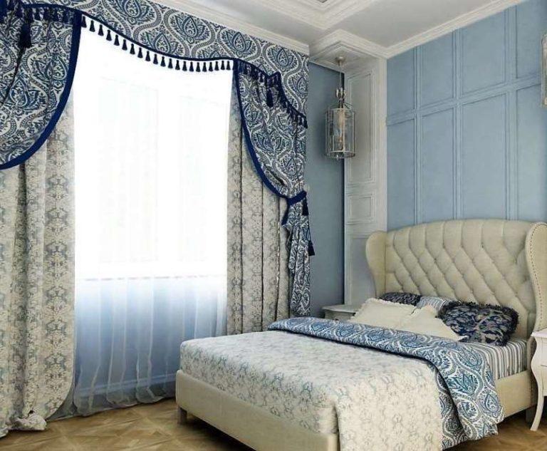 жаккардовые шторы в спальне