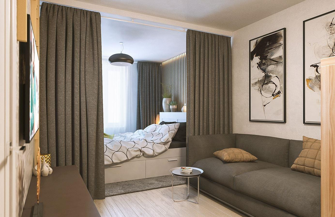 зонирование комнаты шторами идеи интерьер