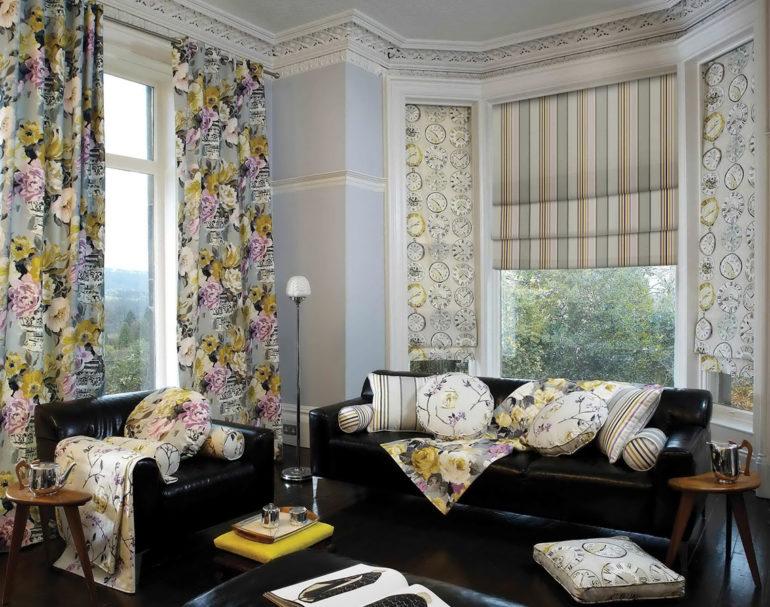 шторы из габардина в гостиной