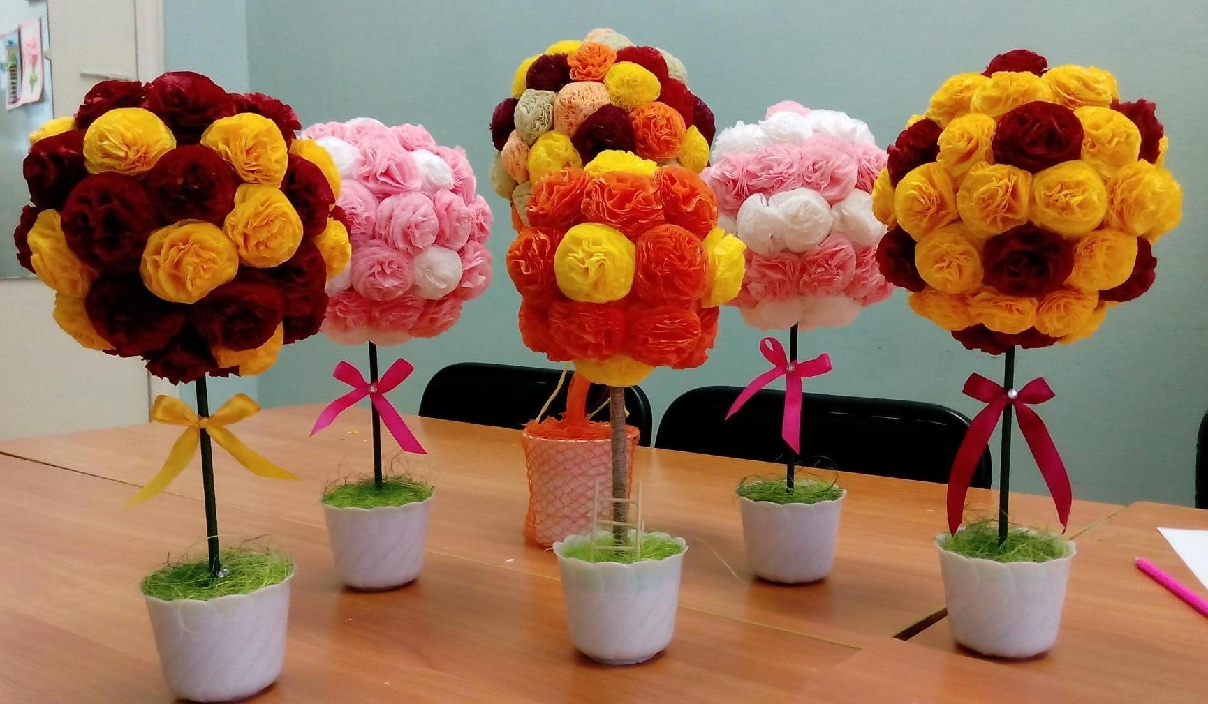 цветы из салфетки в горшках фото