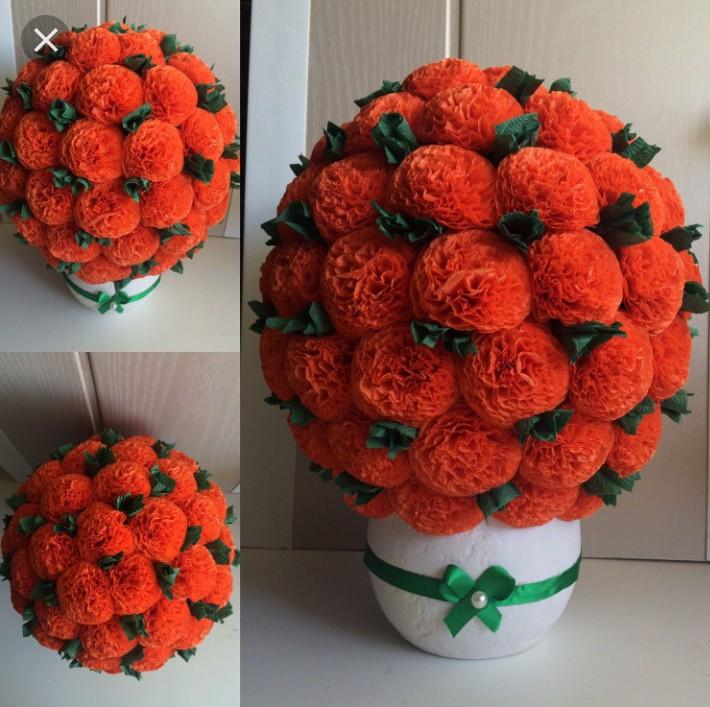 цветы из салфетки в горшках