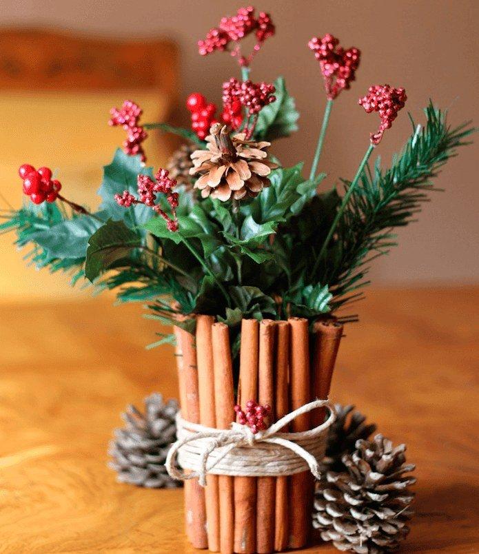декор вазы корицей