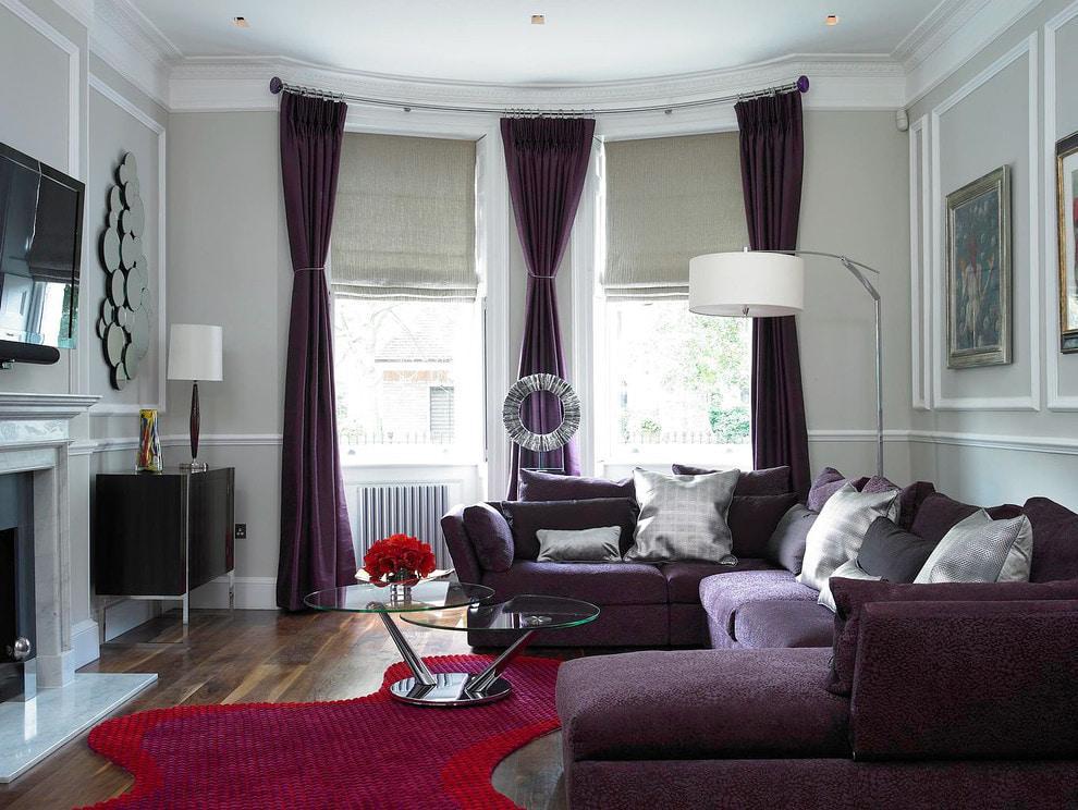 шторы на эркерное окно фиолетовые