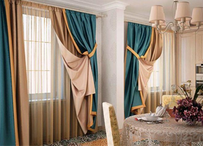 комбинированные шторы дизайн декор
