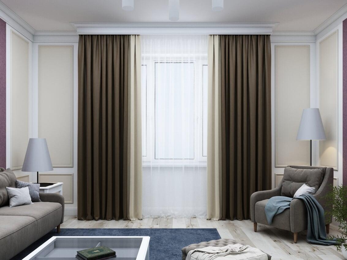 комбинированные шторы идеи фото