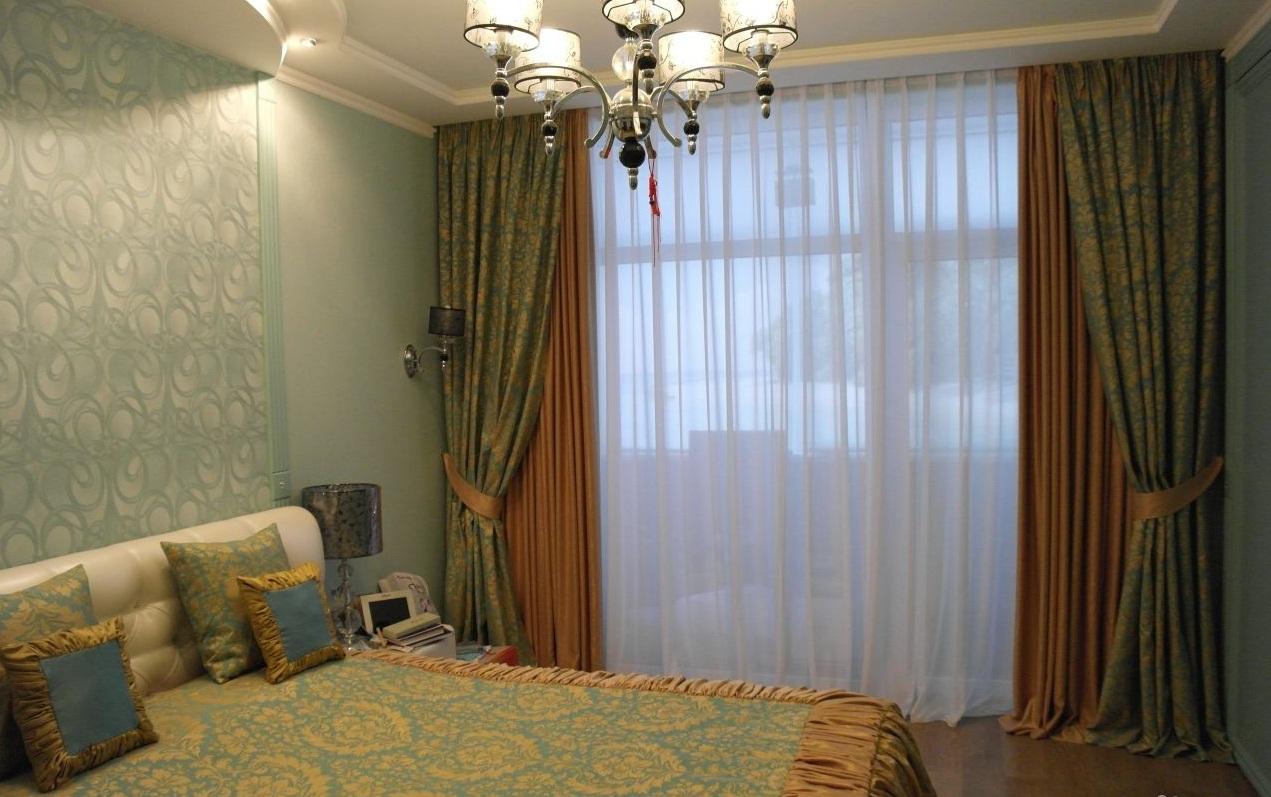 комбинированные шторы в интерьере декор