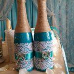 оформление бутылок шампанского на свадьбу декор идеи