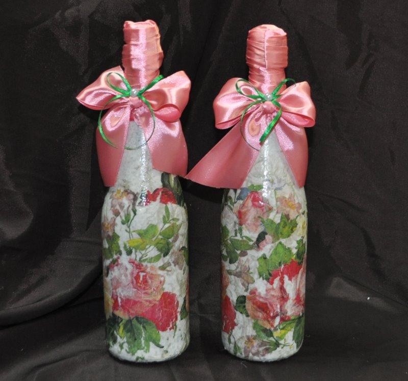 оформление бутылок шампанского красками на свадьбу