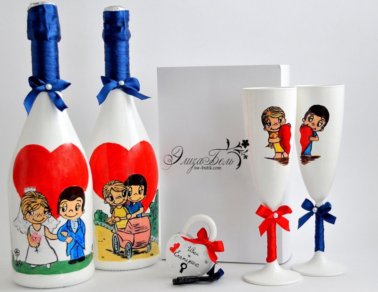 оформление бутылок шампанского на свадьбу идеи декора
