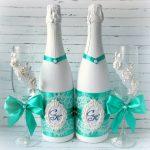 оформление бутылок шампанского на свадьбу идеи вариантов