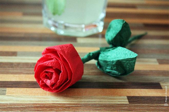 роза из салфетки фото