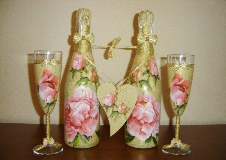оформление бутылок шампанского на свадьбу декупаж