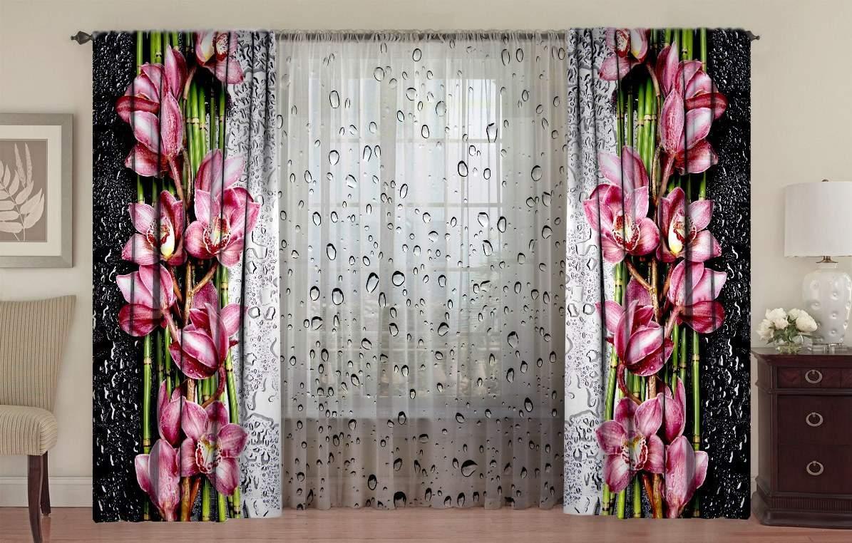 фотошторы на окна орхидея на стекле